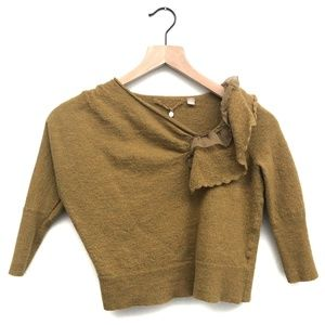 Anthro Knitted & Knotted Green Sweater - Size M